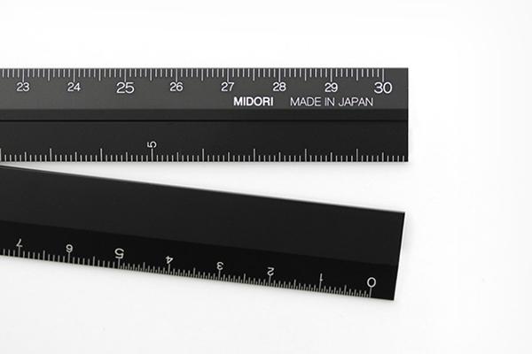 【ミドリ】アルミ マルチ定規<30cm>黒 (42254006)